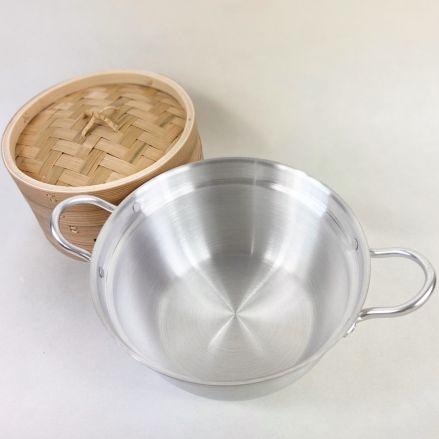 蒸籠(せいろ) 蒸し器 蓋と鍋付きセット 杉製 18cm - 画像4