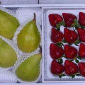 フルーツ食べ比べ! 西洋梨「ル・レクチェ」・ いちご「あまおう」